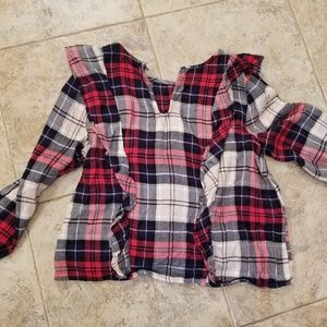 Kensie Good Condition Red Flannel Ruffle Blouse
